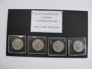 Set of 4 uncirculated US Kennedy Silver Half Dollars 1966-1969 (40% Silver)