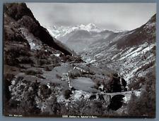 Wehrli. Suisse, Stalden, Bahnhof & Alpen  Vintage print.  Tirage argentique