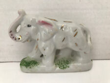 """Antique Porcelain Elephant With Trunk Up Made in Japan 3"""" Long X 1 1/2"""" Tall"""