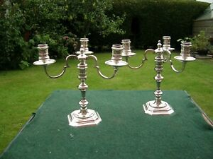 Pair Hallmarked Solid Silver 3 Branch Candelabra Heavy 2290 grams Not Weighted