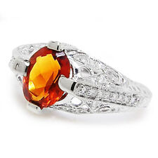 Spessartite Garnet Filigree Ring with Diamonds 18K White Gold 1.47ctw