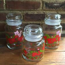Vintage Strawberry Shortcake American Greetings Berry Good Glass Jars Canisters