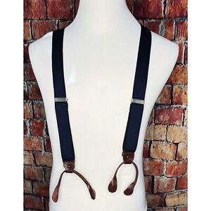 Tommy Hilfiger Suspenders Braces Blue White Stripe Brown Leather Tabs Brass