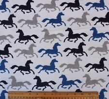 SNUGGLE FLANNEL*SILHOUETTE RUNNING HORSES on GRAY*100% Cotton Fabric*8 YARD BOLT