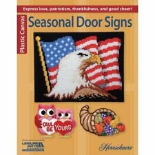Plastic Canvas Pattern Book SEASONAL DOOR SIGNS ~ Snowman, Eagle, Cornucopia ++