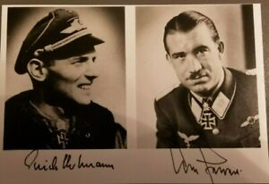 German Ace Major Erich Hartmann and General Adolf Galland Autographed Photos
