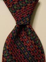 MISSONI Men's 100% Silk Necktie SPAIN Luxury Designer Geometric Multi-Color EUC
