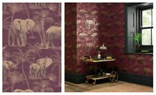 Arthouse Elephant Grove Aubergine Feature Metallic Wallpaper 610701