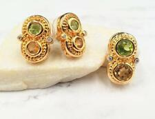 A & Z Yellow Gold Plated Peridot Citrine CZ Earring & Pendant Set