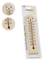 Termometro In Legno Da Muro Interno Esterno Parete Temperatura C° F° Casa moc