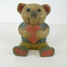 More details for wooden carved bear figurine sitting w/ heart solid vintage teddy ornament 18 cm