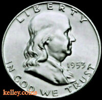 1953-D 50C Franklin Silver Half Dollar BU