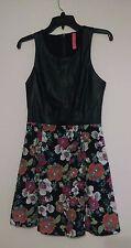 Eight Sixty small dress flare bright floral faux black leather empire waist EUC