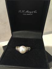 Sterling Silver 9mm Cultured Freshwater White Pearl RIng DIamond Accents Size 7