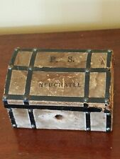 Antique Neuchatel Chocolat Suchard French Fashion Doll Trunk Candy Container