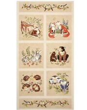 """23"""" Fabric Panel - Red Rooster Forest Frolics Woodland Animal Wallhanging"""