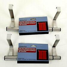 X2 Essentials Towel Bars Stainless Steel Adjustable Over Cabinet Door Hook Racks