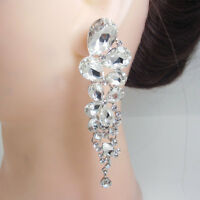 Elegant Bride Tear Drops Dangle Pierced Clear Austrian Crystal Earrings