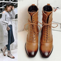 Retro Women's Ankle Boots Chunky Heel Square Toe Booties Leather Shoes Lace up