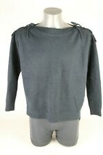 Sweewe Blue Black Knitted Lace Shoulder Jumper Top Long Sleeve S/M