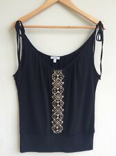 CACHE Black Blouse S Embellished Studs Sleeveless Adjustable Straps Sexy Top