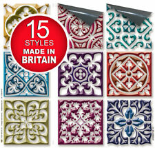"Self Adhesive Stick On Wall Tile Stickers For 4""x4"" Tiles -15 Styles All Colours"
