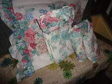 VINTAGE SPRINGMAID LOTS OF FLOWERS PINK CAMEL GREEN FLORAL (3PC) TWIN SHEET SET