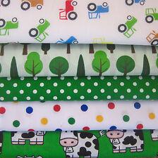 Fat Quarters Bundles Fabric Craft Bunting Sewing Green Tractors Spots Cows Farm