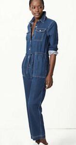 M&S COLLECTION Denim Button Detailed Jumpsuit UK Size 14 REGULAR