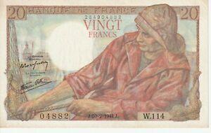 Vintage Banknote France 1944 20 Francs Pick 100a Crisp  AU/UNC US Seller