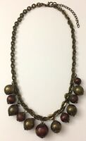 """Vtg Wood & Brass Tone Antiqued Metal Chain Bauble Hanging Beaded Necklace 18"""""""