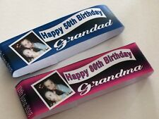 6 x Personalised Wrappers for Chocolate Birthday Add Photo Blue Or Pink