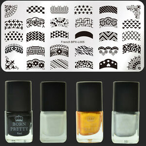 5Pcs/Set French Nail Art Stamp Plate  Template & Stamping Polish Varnish