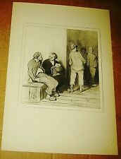 HONORE DAUMIER LITHOGRAPH LAW & JUSTICE BOOK PRINT SIGNED LAWYER FRENCH 10X14 8
