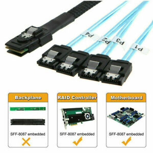 Mini SAS SFF-8087 36-Pin Male to 4 SATA 7-Pin HDD Splitter Adapter Data Cable 1M