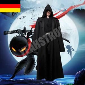 Vampir Umhang Wendeumhang mit Kapuze Cape Lang Mantel Halloween Kostüm Cosplay