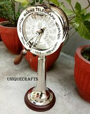 Nautical Vintage Chrome Ship Telegraph Engine Room With Wooden Base.