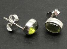 Peridot cabochon 7 X 5mm Oval Stud Earrings, Solid sterling silver, New. UK.