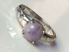 Platinum bond 'Ptb' hammered effect ring with purple solitaire stone size M