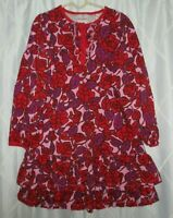 Hanna Andersson Girls Dress Size 130 8 Red Purple Pink Floral Ruffle Hem Cotton