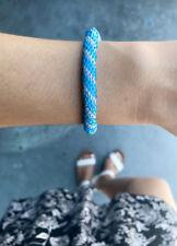 Sashka Co Blue & Clear Glass Beaded Roll On Bracelet Fair Trade B16 + Gift Box