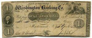 (88) Rare Billet de 1 Dollar Hackensack, NJ - Washington Banking Co.1833