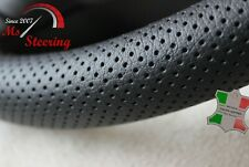 FOR TOYOTA YARIS MK1 BLACK PERFORATED LEATHER STEERING WHEEL COVER ORANGE STITCH