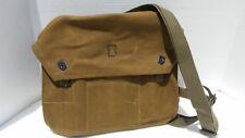 Vintage Unissued Green/Tan Canvas Military Messenger Shoulder Bag with Strap
