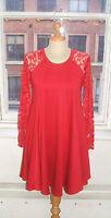 Baylis & Knight RED Lace Sleeve SWING Drape Dress Elegant (Smock)