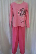 Hue Pajama Set Sz L Sachet Pink 2 Piece Long Sleeve Pant Rose Sequined Sleepwear