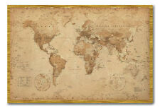 World Map Poster Ye Old Parchment Oak Framed Ready To Hang Frame Free P&P