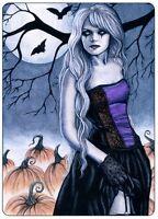 Halloween Gothic ACEO PRINT Art Pumpkins Bats Moon WC