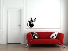 "WALL - Banksy - Recording Rat - Wall Vinyl Decal (20""w x 22""h) (BLACK)"
