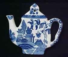 Blue Willow Porcelain Teapot Tea Pot Teapot Trivet Hot Mat Plate New